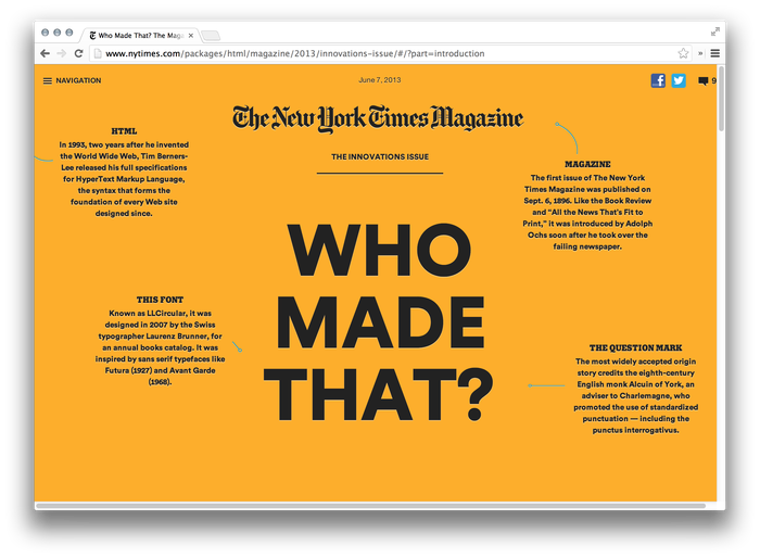 The New York Times Magazine, 2013 Innovations Issue, Online Edition 1