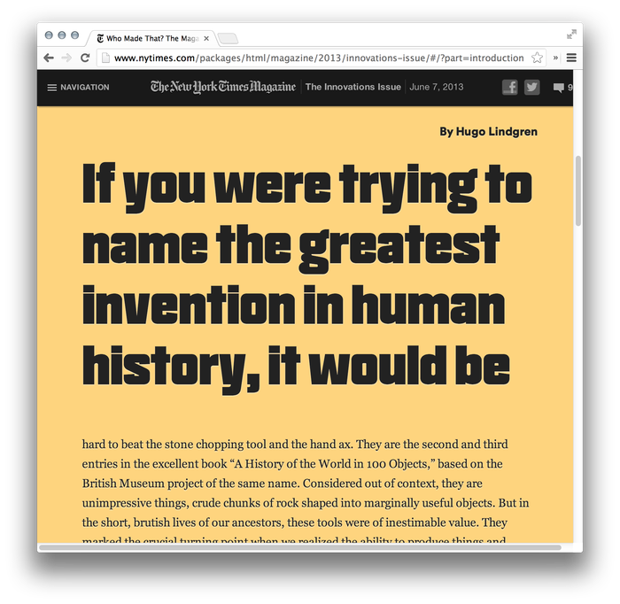 The New York Times Magazine, 2013 Innovations Issue, Online Edition 2