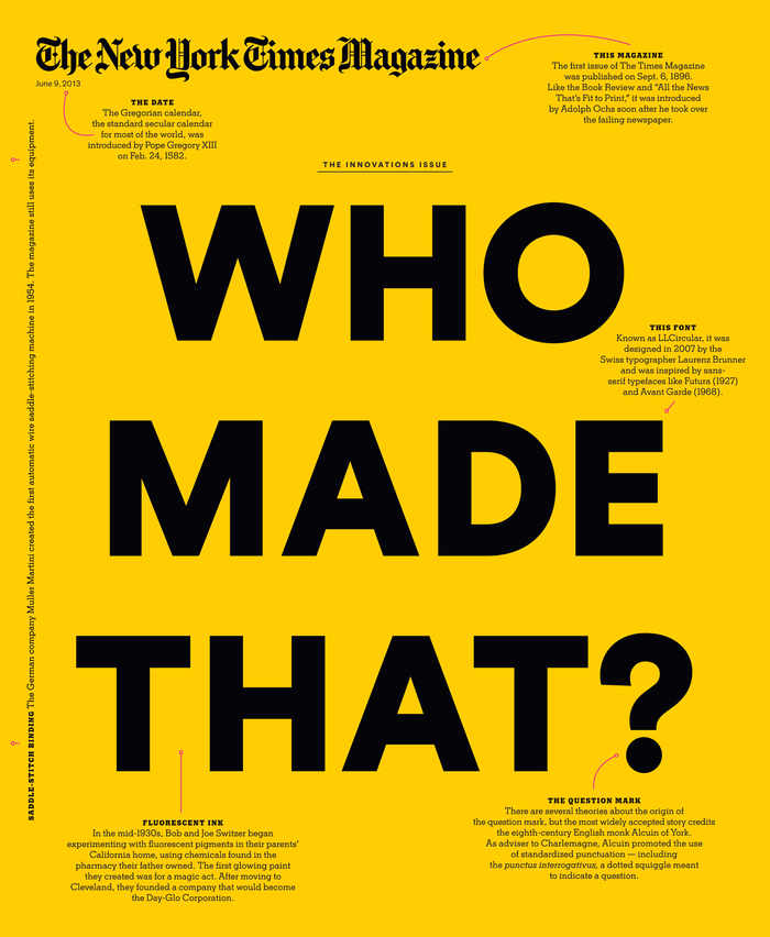 The New York Times Magazine, 2013 Innovations Issue