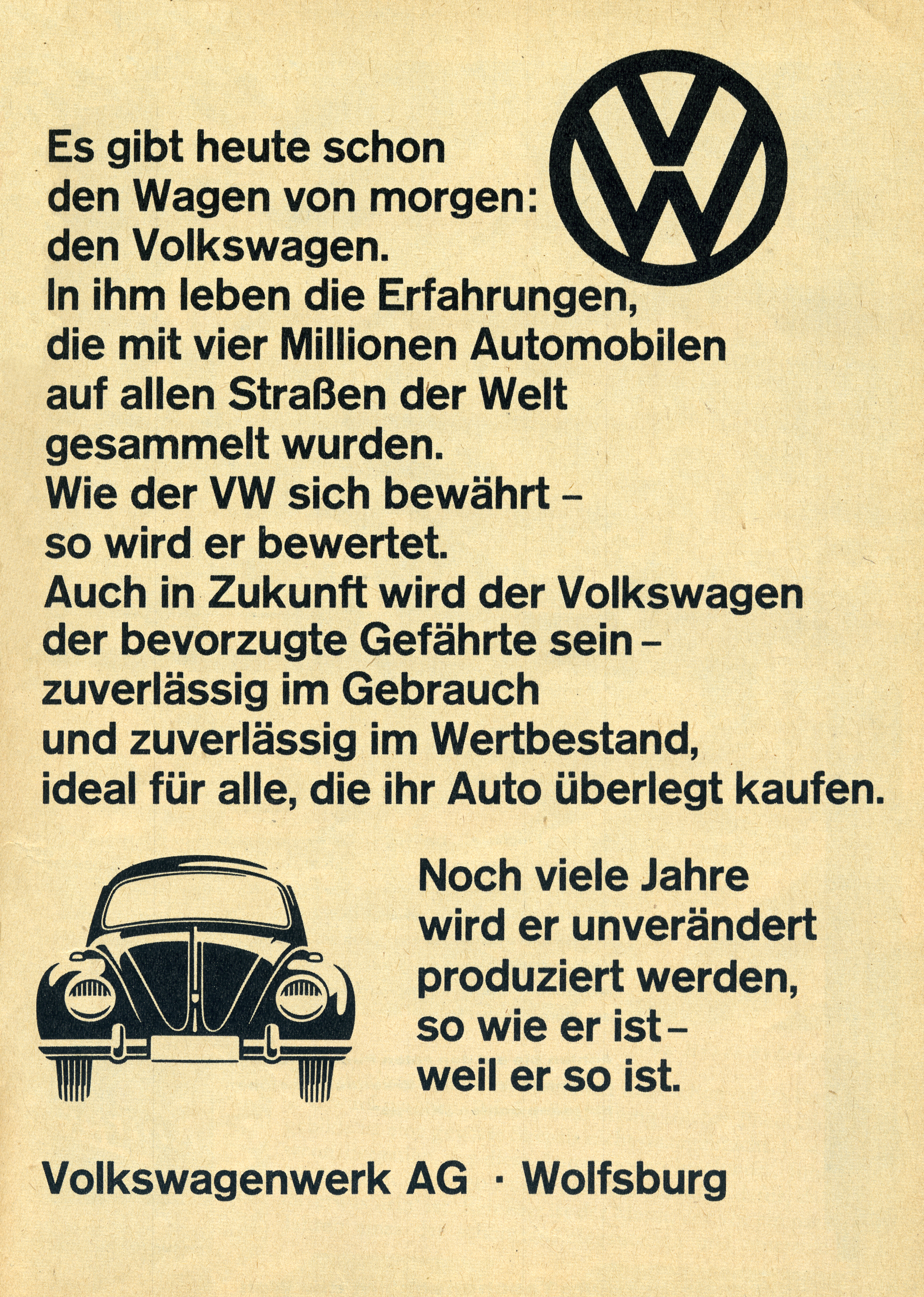Volkswagen ad (1961) - Fonts In Use