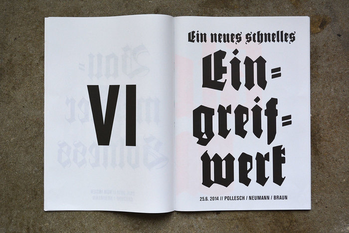 The blackletter hyphen typically is double and slightly angled. When centering lines horizontally, make sure to adjust optically and compensate for hyphens and other punctuation. Of course, this only applies when you're aiming for fine typography. LSD Design obviously isn't.