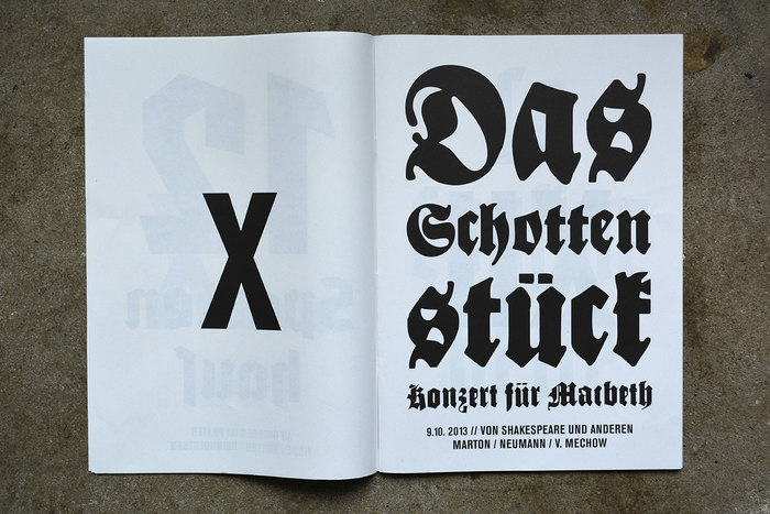 Bayreuth (1932 or 1935) paired with Schmalfette Gotisch (1934). Both typefaces were originally designed by F.H. Ernst Schneidler. Schottenstück should be with an 'ſ' and ligatures for 'ch' and 'ck'.
