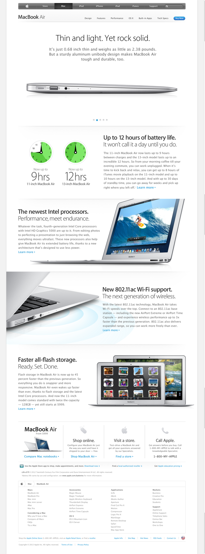 """Apple sometimes uses an ultra thin weight of Myriad that is lighter than anything commercially available. I suppose they had one custom made to emphasize the """"weightlessness"""" of the MacBook Air. This style of Myriad is also used elsewhere on Apple.com."""