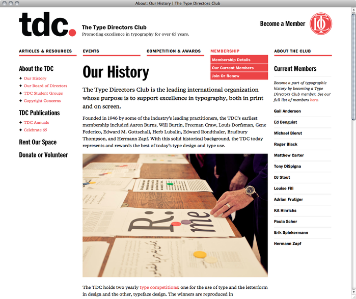 Type Directors Club Website 2