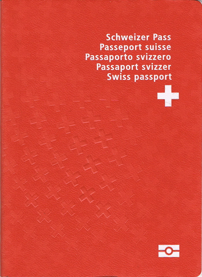 The front cover of a contemporary Swiss biometric passport (2010).