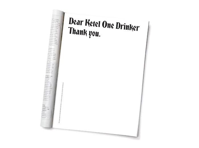 """""""Dear Ketel One Drinker"""" Ad Campaign 1"""