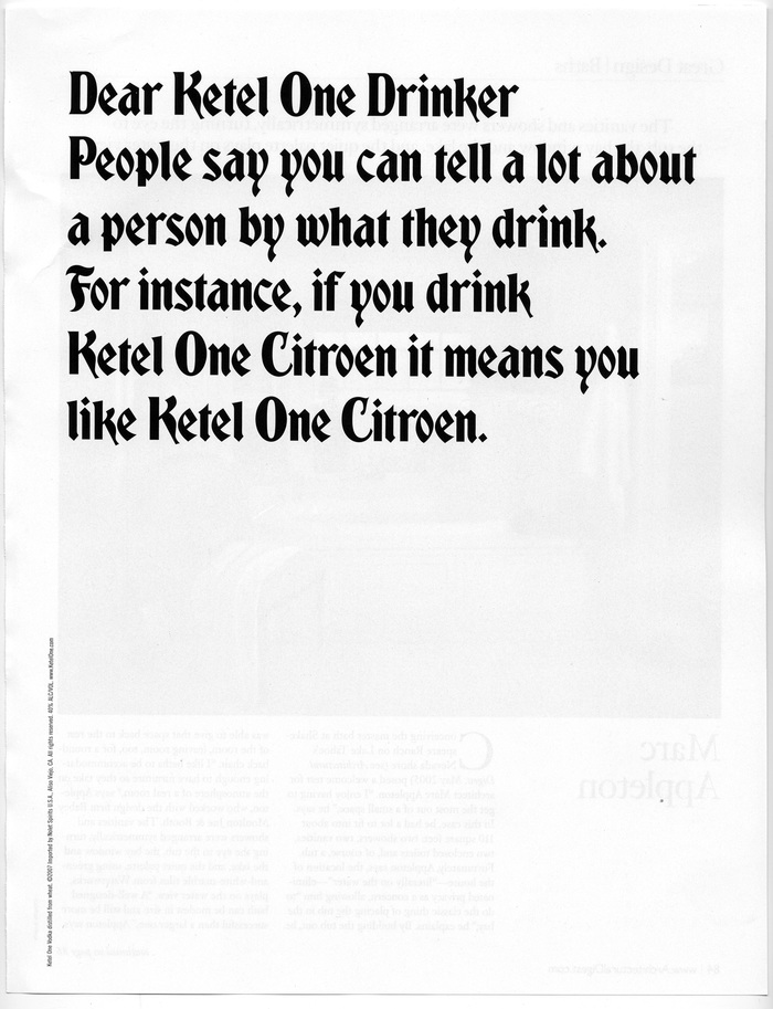"""Dear Ketel One Drinker"" Ad Campaign 6"