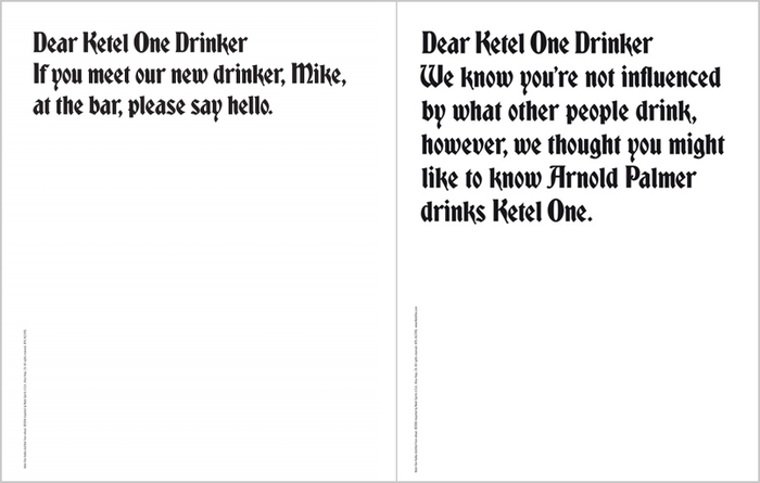 """Dear Ketel One Drinker"" Ad Campaign 7"