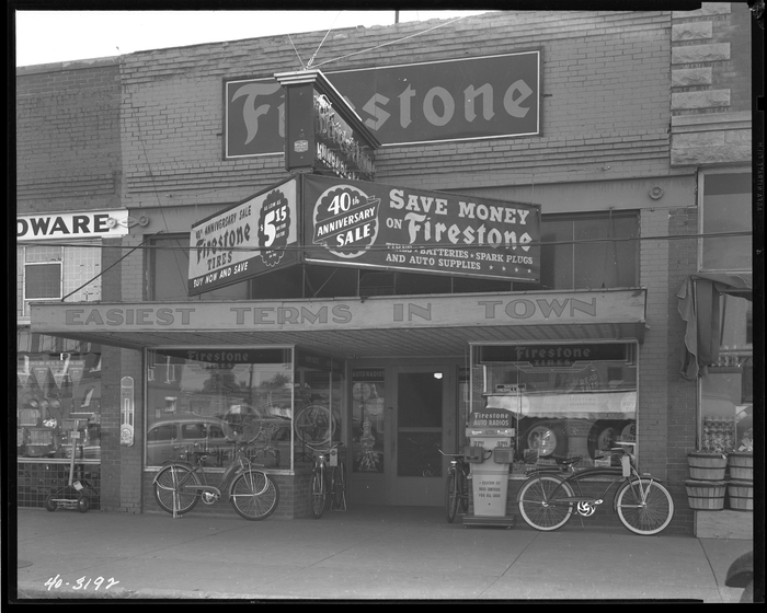 Firestone storefront, circa 1940.