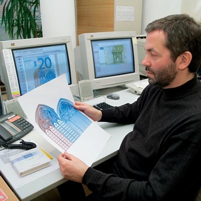 Robert Kalina, designer of the 2002 euro banknotes, at work at the Oesterreichische Nationalbank in Vienna.