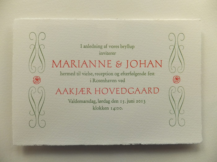 Marianne & Johan wedding invitation 2
