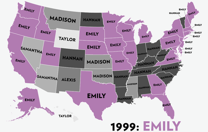 Map: Six Decades of the Most Popular Names for Girls, State-by-State 3