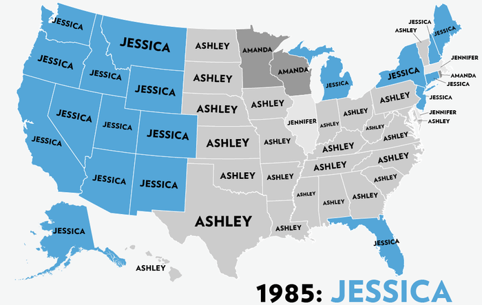 Map: Six Decades of the Most Popular Names for Girls, State-by-State 4