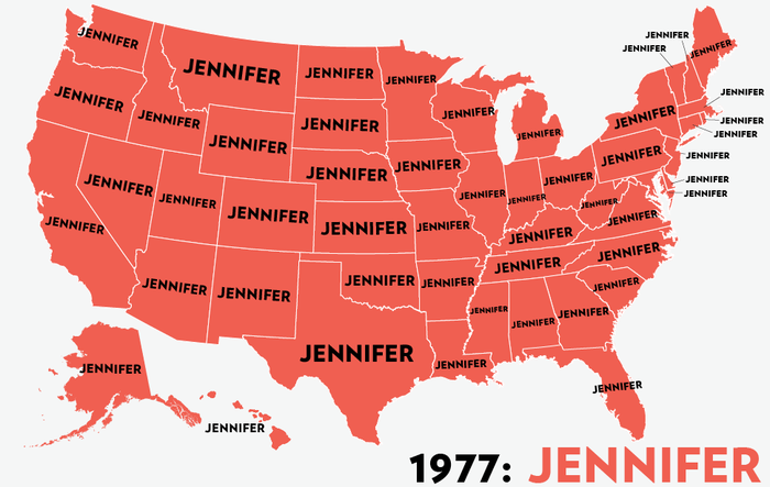 Map: Six Decades of the Most Popular Names for Girls, State-by-State 5
