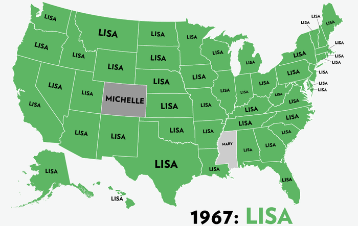 Map: Six Decades of the Most Popular Names for Girls, State-by-State 6