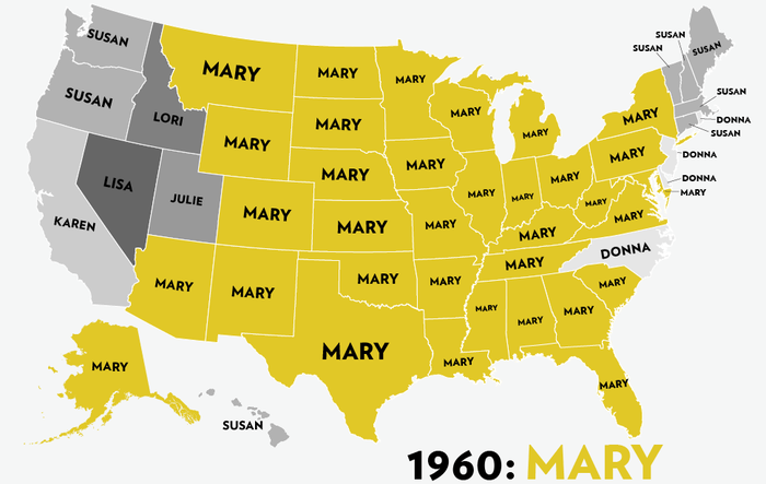 Map: Six Decades of the Most Popular Names for Girls, State-by-State 7