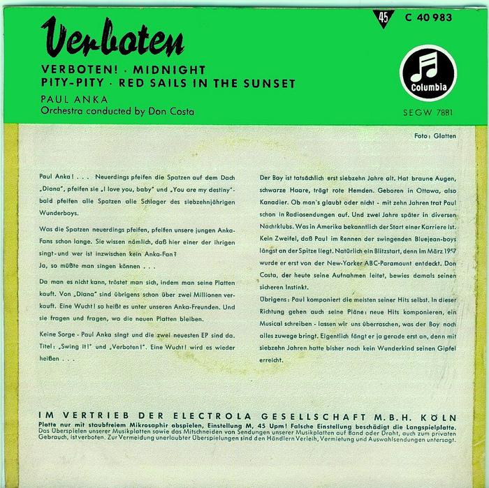 Verboten by Paul Anka (Original Soundtrack EP, 1959) 2