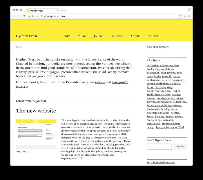 Hyphen Press Website 1