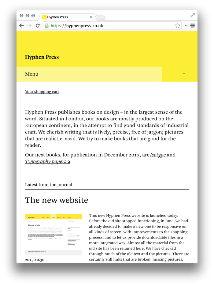 Hyphen Press Website 7