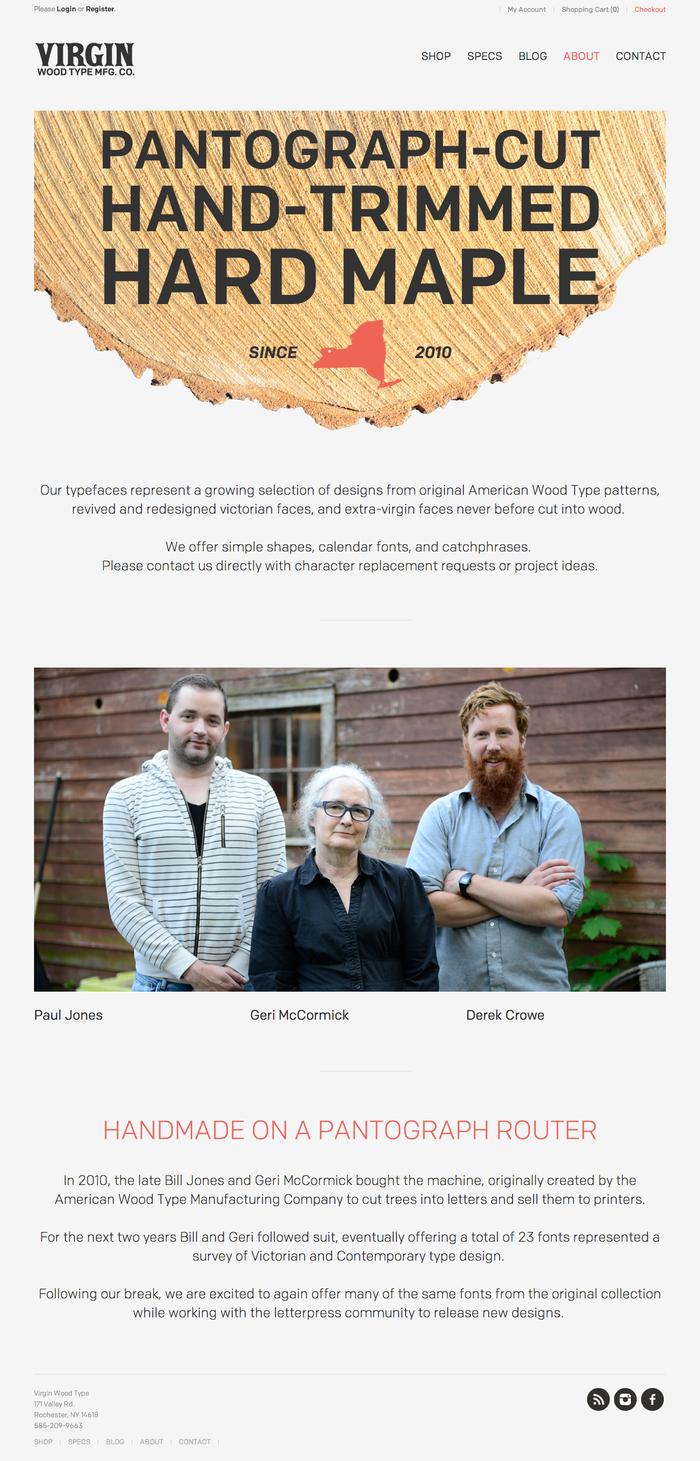 Virgin Wood Type Website 1