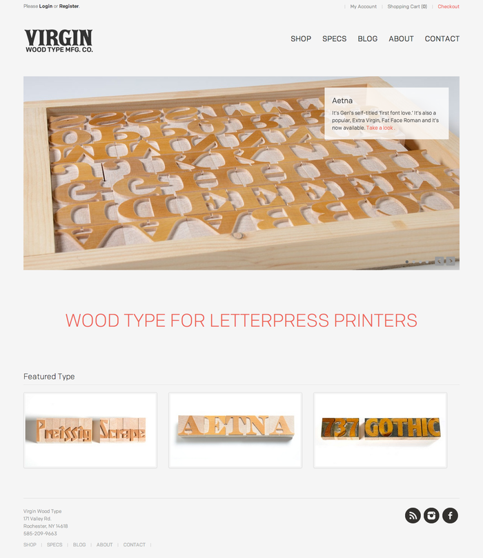 Virgin Wood Type Website 2
