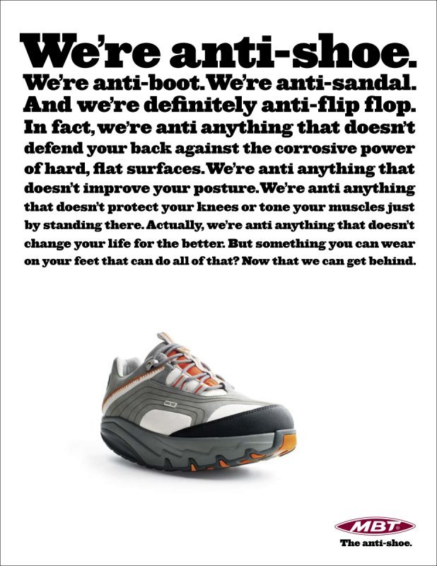 """""""The anti-shoe"""" campaign for MBT 1"""