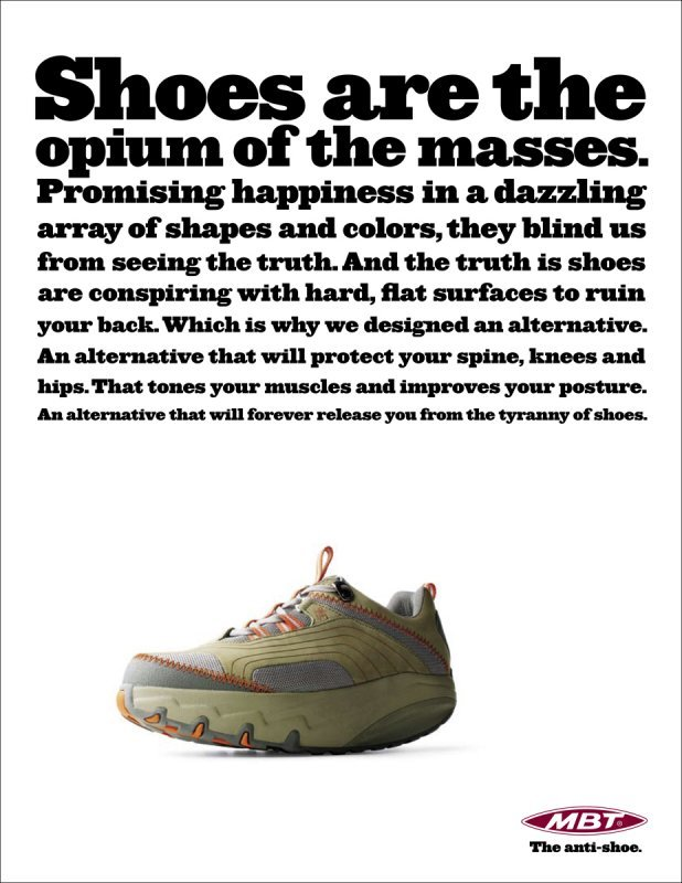 """The anti-shoe"" campaign for MBT 2"