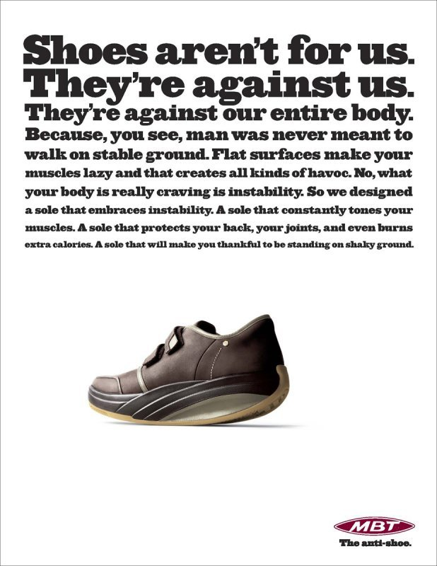 """""""The anti-shoe"""" campaign for MBT 3"""
