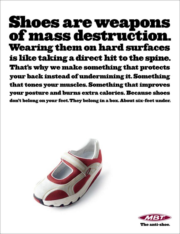 """""""The anti-shoe"""" campaign for MBT 5"""