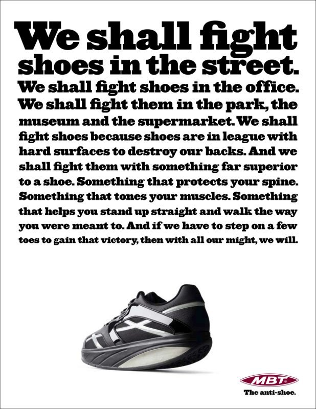 """""""The anti-shoe"""" campaign for MBT 6"""