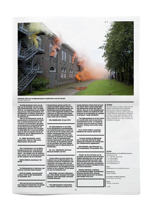 Rijksakademie van Beeldende Kunsten Amsterdam Verslag 2011 2