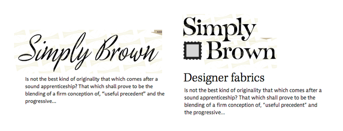 First type exploration. On the left, PLINC's Copeland Milo with Rooney Sans (a lovely pair, but not the right choice for this project). On the right, final choices (except here, Kepler Regular at standard width).