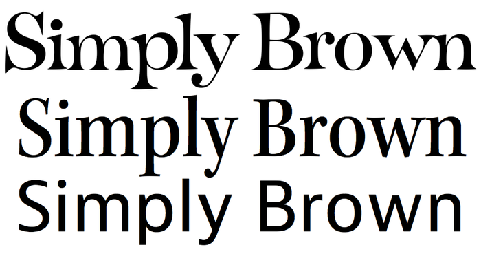 From top to bottom, D'Amico Regatta, Kepler Semicondensed, and JAF Bernina Sans. Kepler roughly shares Regatta's contrast, vertical stress, and angled top serifs — enough to carry the logotype's personality downward into the composition. And this width and weight of Kepler, Semicondensed Medium, has a rhythm similar to Bernina. If this combination is successful, Kepler is the key. Bernina does its job quietly and unobtrusively, its round dots, tailed 'a', two-story 'g', and curvy 'y' contentedly similar to the corresponding shapes in Kepler.