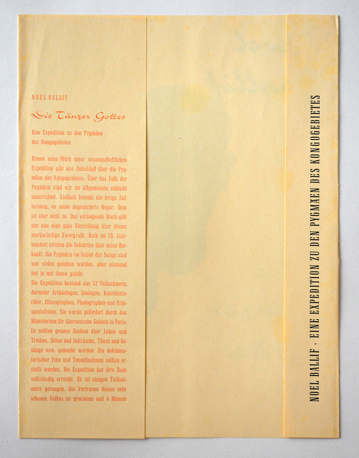 The secondary typeface is the condensed cut of Jakob Erbar's Candida (also for Ludwig & Mayer). The language of the blurb isnot politically correct by any modern standards.