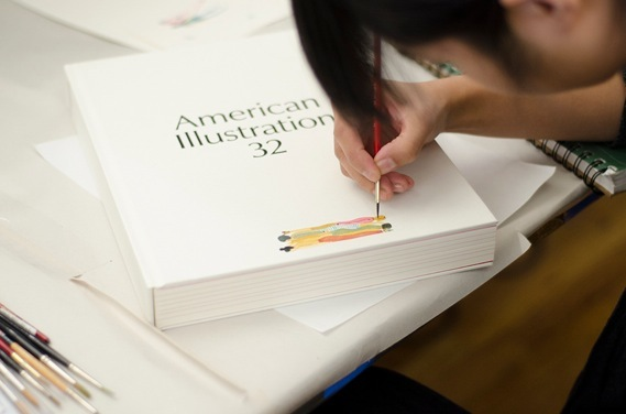 Monica Ramos, below, adds detail to one of her copies.