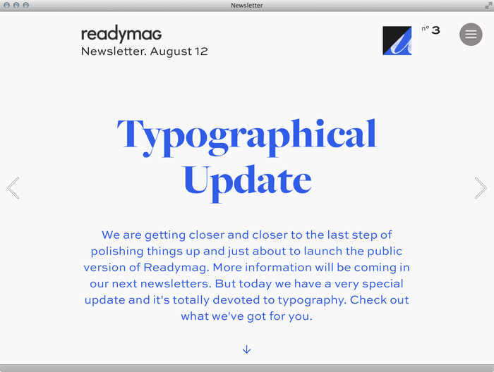 Readymag Newsletter 1