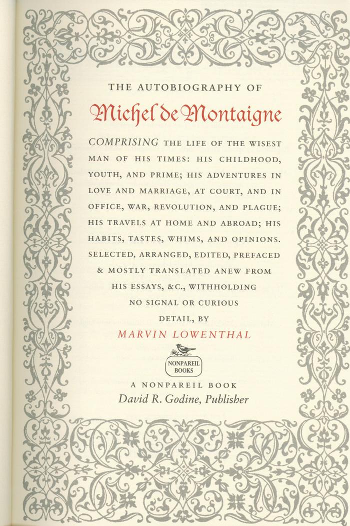 The Autobiography of Michel de Montaigne 2