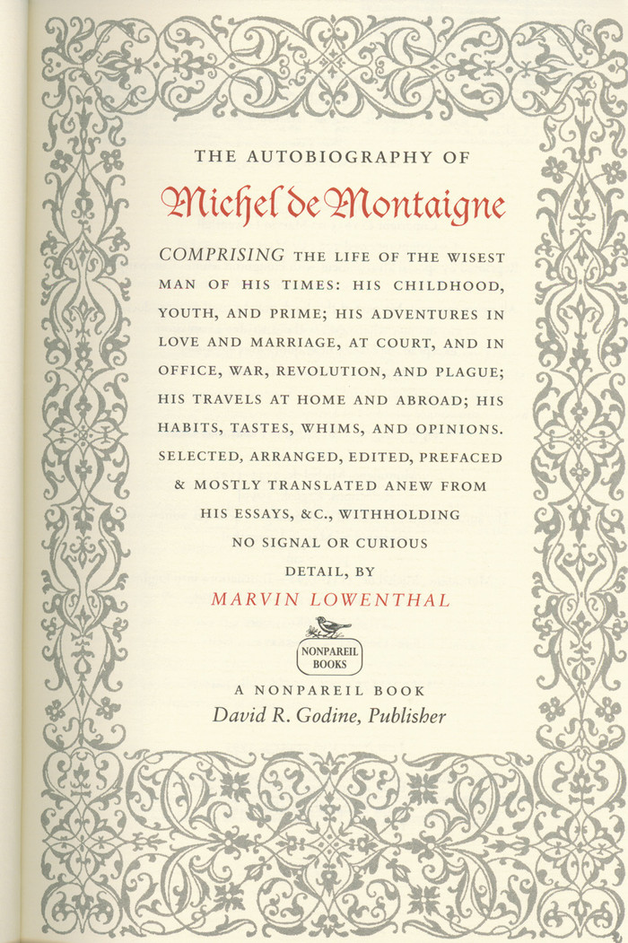 The Autobiography of Michel de Montaigne 2