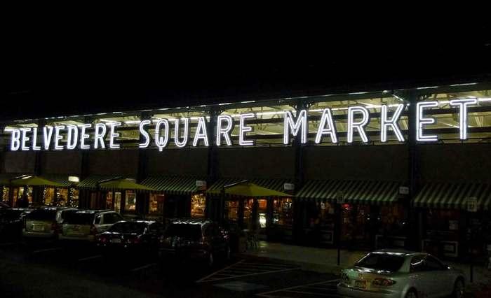 Belvedere Square Market neon sign 2