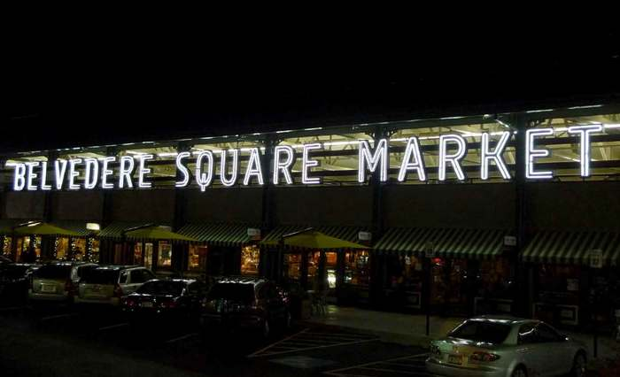 Belvedere Square Market neon sign 2