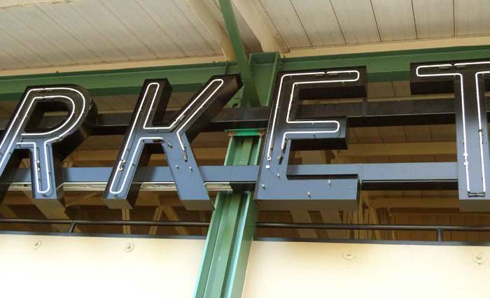 Belvedere Square Market neon sign 4