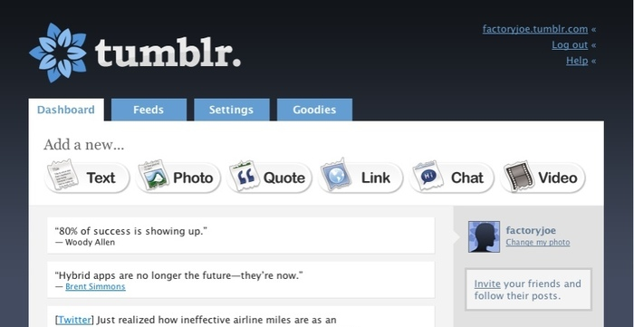 Tumblr's April 2007 dashboard redesign.