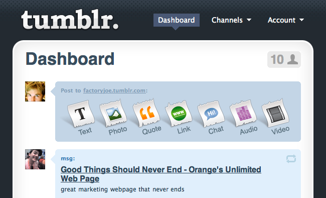 Tumblr's October 2007 dashboard redesign said farewell to the Davidville flower.