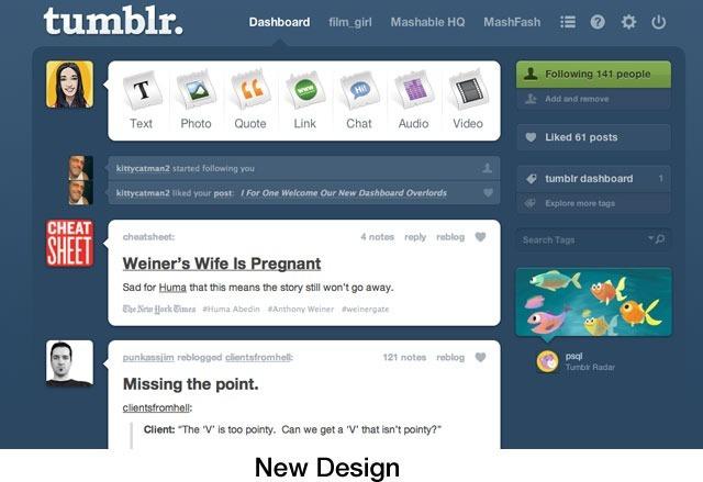 Tumblr dashboard, 2011.