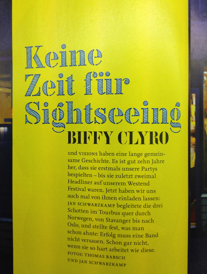 Biffy Clyro feature in Visions magazine, No. 249