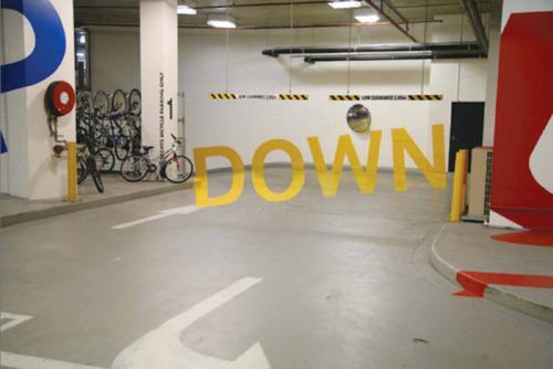 Eureka Tower parking garage signs 1