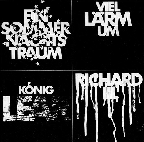 Design: Christof Gassner. German titles of various plays by Shakespeare: A Midsummer Night's Dream, Much Ado About _, King Lear, Richard III. For more, see Schauspiel im ZDF.