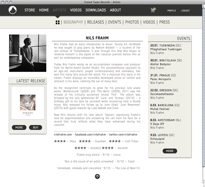 Erased Tapes Records Website 1