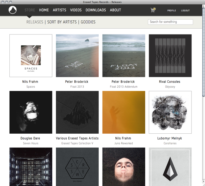 Erased Tapes Records Website 2