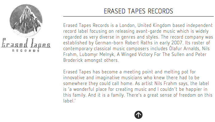 Erased Tapes Records Website 3
